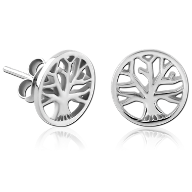 54349802e sterling silver 925 rhodium plated ear studs pair - tree of life