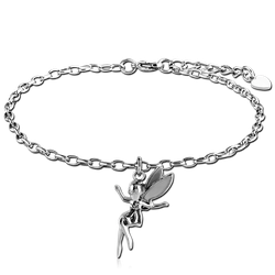 SURGICAL STEEL GRADE 316L ANKLETS CHARMS OVAL ROLLO CHAINS - FAIRY