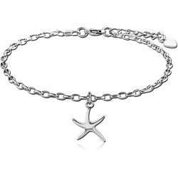SURGICAL STEEL GRADE 316L ANKLETS CHARMS OVAL ROLLO CHAINS - STARFISH