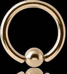 18 KARAT GOLD YELLOW BALL CLOSURE RING