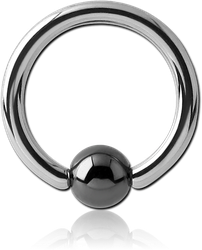 SURGICAL STEEL GRADE 316L BALL CLOSURE RING WITH HEMATITE BALL