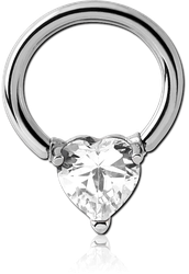 SURGICAL STEEL GRADE 316L BALL CLOSURE RING WITH PRONG SET HEART JEWEL ATTACHMENT