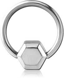 SURGICAL STEEL GRADE 316L BALL CLOSURE RING WITH ATTACHMENT