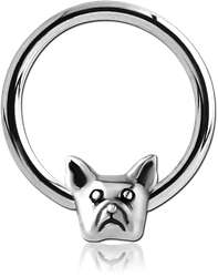 SURGICAL STEEL GRADE 316L BALL CLOSURE RING WITH ATTACHMENT - BULLDOG HEAD