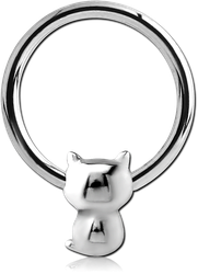 SURGICAL STEEL GRADE 316L BALL CLOSURE RING WITH ATTACHMENT - CAT