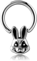 SURGICAL STEEL GRADE 316L BALL CLOSURE RING WITH ATTACHMENT - RABBIT HEAD