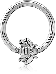SURGICAL STEEL GRADE 316L BALL CLOSURE RING WITH ATTACHMENT - HONEY BEE