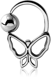 SURGICAL STEEL GRADE 316L BUTTERFLY SIDE BALL CLOSURE RING