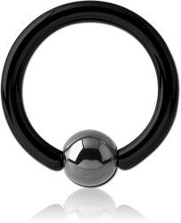 BLACK PVD SURGICAL STEEL GRADE 316L BALL CLOSURE RING WITH HEMATITE BALL
