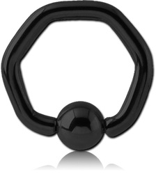 BLACK PVD COATED SURGICAL STEEL GRADE 316L HEXAGON BALL CLOSURE RING