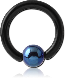 BLACK PVD COATED TITANIUM ALLOY BALL CLOSURE RING WITH ANODISED BALL