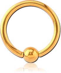 GOLD PVD COATED SURGICAL STEEL GRADE 316L ANNEALED BALL CLOSURE RING