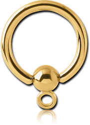 GOLD PVD COATED SURGICAL STEEL GRADE 316L BALL CLOSURE RING WITH HOOP