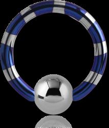 ANODISED TWO TONE TITANIUM ALLOY BALL CLOSURE RING