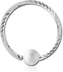 14 KARAT GOLD WHITE FIXED BEAD RING WITH DIAMOND CUTTING AND BRUSHED BALL