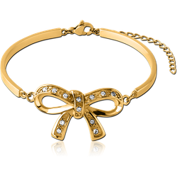 GOLD PVD COATED SURGICAL STEEL GRADE 316L BANGLE WITH FLOATING JEWELED ATTACHMENT - BOW
