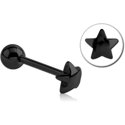 BLACK PVD COATED SURGICAL STEEL GRADE 316L BARBELL WITH LG STAR ATTACHMENT