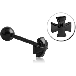 BLACK PVD COATED SURGICAL STEEL GRADE 316L BARBELL WITH IRON CROSS ATTACHMENT