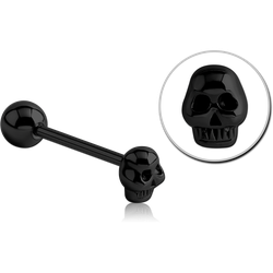 BLACK PVD COATED SURGICAL STEEL GRADE 316L BARBELL WITH SKULL ATTACHMENT