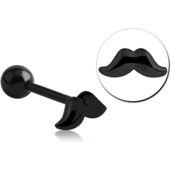BLACK PVD COATED SURGICAL STEEL GRADE 316L BARBELL - MUSTACHE