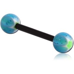 UV POLYMER FLEXIBLE BARBELL WITH GLITTERING MURANO BALL