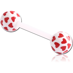 UV POLYMER FLEXIBLE BARBELL WITH PRINTED HEARTS BALL