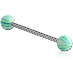 SURGICAL STEEL GRADE 316L BARBELL WITH UV MULTI-STRIPE BEACH BALL