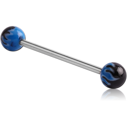 SURGICAL STEEL GRADE 316L BARBELL WITH PAINTED BALL -NOT FOR TONGUE USE