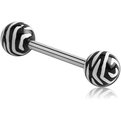 SURGICAL STEEL GRADE 316L BARBELL WITH ACRYLIC ANIMAL PRINTED BALL