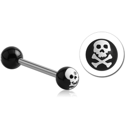 SURGICAL STEEL GRADE 316L BARBELL WITH ACRYLIC SKULL PRINTED BALL