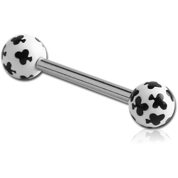 SURGICAL STEEL GRADE 316L BARBELL WITH ACRYLIC CLUB PRINTED BALL
