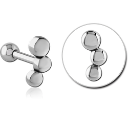 SURGICAL STEEL GRADE 316L TRIPLE BALL BARBELL
