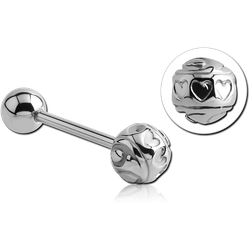 SURGICAL STEEL GRADE 316L BARBELL WITH HEARTS BALL