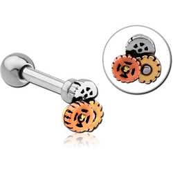 SURGICAL STEEL GRADE 316L BARBELL WITH STEAMPUNK