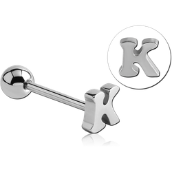 SURGICAL STEEL GRADE 316L BARBELL WITH LETTER - K