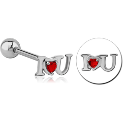 SURGICAL STEEL GRADE 316L JEWELED BARBELL - I LOVE YOU