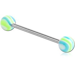 SURGICAL STEEL GRADE 316L BARBELL WITH UV WAVE CANDY BALL