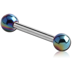 SURGICAL STEEL GRADE 316L MICRO BARBELL WITH UV POLYMER AB COATED BALLS