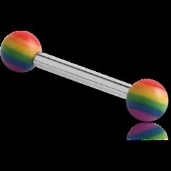 MICRO BARBELL WITH UV POLYMER RAINBOW BALLS