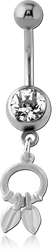 RHODIUM PLATED BASE METAL JEWELED NAVEL BANANA WITH CHARM - CIRCLE AND LEAF