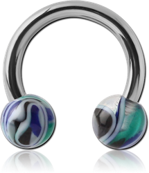 SURGICAL STEEL GRADE 316L CIRCULAR BARBELL WITH ACRYLIC JAW BREAKER BALLS