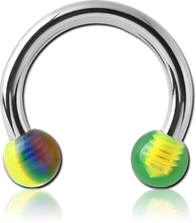 SURGICAL STEEL GRADE 316L CIRCULAR BARBELL WITH ACRYLIC CANDY BALLS