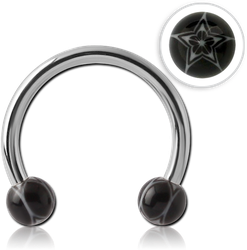 SURGICAL STEEL GRADE 316L MICRO CIRCULAR BARBELL WITH UV STAR BALLS