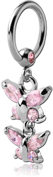 SURGICAL STEEL GRADE 316L JEWELED BALL CLOSURE RING WITH JEWELED BUTTERFLIES CHARM