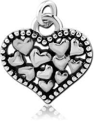 RHODIUM PLATED BASE METAL CHARM - HEARTS IN HEART