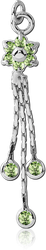 RHODIUM PLATED BASE METAL JEWELED FLOWER DANGLE CHARM