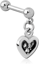 SURGICAL STEEL GRADE 316L JEWELED MICRO BARBELL WITH DANGLING CHARM - HEART
