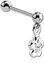 SURGICAL STEEL GRADE 316L JEWELED MICRO BARBELL WITH FLOWER CHARM