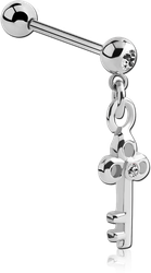 SURGICAL STEEL GRADE 316L JEWELED MICRO BARBELL WITH KEY CHARM