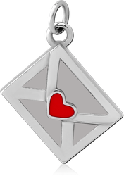 SURGICAL STEEL GRADE 316L CHARM - ENVELOPE WITH HEART
